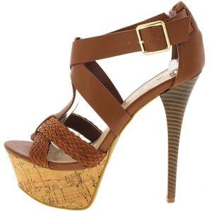 Anne Michelle Shoes - Koko Cognac Open Toe Cork Platform Heels
